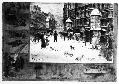 Félix Hilaire Buhot (French, 1847-1898). <em>Winter in Paris; Place Breda</em>, 1879. Etching and acquatint on wove paper, 9 5/16 x 13 11/16 in. (23.7 x 34.8 cm). Brooklyn Museum, Gift of Mrs. Charles Pratt, 57.188.74 (Photo: Brooklyn Museum, 57.188.74_bw.jpg)