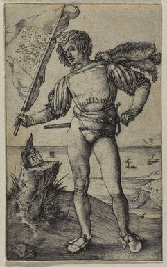 Albrecht Dürer (German, 1471-1528). <em>The Standard Bearer</em>, ca. 1500. Engraving on laid paper, 4 1/2 x 2 1/4 in. (11.4 x 5.7 cm). Brooklyn Museum, Gift of Mrs. Charles Pratt, 57.188.9 (Photo: Brooklyn Museum, 57.188.9_PS9.jpg)