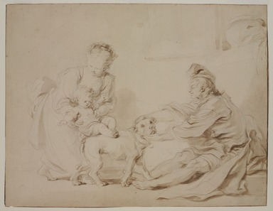 Jean-Honoré Fragonard (French, 1732-1806). <em>The First Riding Lesson (La première leçon d'équitation)</em>, ca. 1778. Brown ink and graphite on laid paper, 13 11/16 x 17 3/4 in. (34.8 x 45.1 cm). Brooklyn Museum, Gift of Mr. and Mrs. Alastair B. Martin, the Guennol Collection, 57.189 (Photo: , 57.189_PS9.jpg)