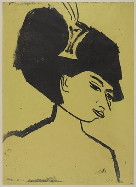 Ernst Ludwig Kirchner (German, 1880-1938). <em>Milliner with Hat (Modistin mit Hut)</em>, 1910. Lithograph on wove paper, Image: 23 9/16 x 17 in. (59.8 x 43.2 cm). Brooklyn Museum, Carll H. de Silver Fund, 57.194.1 (Photo: , 57.194.1_PS9.jpg)