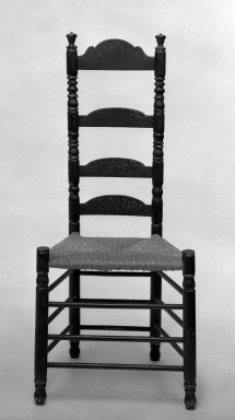 American. <em>Side Chair</em>, ca. 1710. Paint, 49 1/2 x 20 x 16 in. (125.7 x 50.8 x 40.6 cm). Brooklyn Museum, Gift of Ironton Austin Kelly, III, 57.211.4. Creative Commons-BY (Photo: Brooklyn Museum, 57.211.4_view1_acetate_bw.jpg)