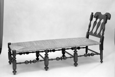 American. <em>Daybed</em>, ca. 1725. Walnut, 38 x 23 1/2 x 66 in. (96.5 x 59.7 x 167.6 cm). Brooklyn Museum, Gift of Ironton Austin Kelly, III, 57.211.5. Creative Commons-BY (Photo: Brooklyn Museum, 57.211.5_acetate_bw.jpg)
