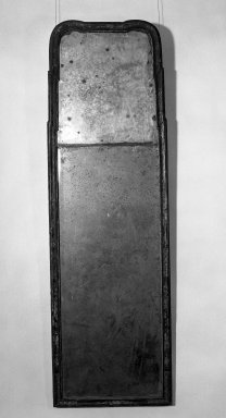 American. <em>Looking Glass</em>, ca. 1740. Glass, Japanned pine, 63 1/2 x 20 in. (161.3 x 50.8 cm). Brooklyn Museum, Gift of Ironton Austin Kelly, III, 57.211.6. Creative Commons-BY (Photo: Brooklyn Museum, 57.211.6_acetate_bw.jpg)