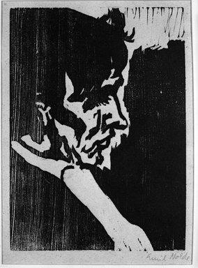 Emil Nolde (German, 1867-1956). <em>Dr. P</em>, 1911. Woodcut on wove paper, Image: 8 7/8 x 6 1/2 in. (22.5 x 16.5 cm). Brooklyn Museum, Gift of Margarete Schultz, 57.215 (Photo: Brooklyn Museum, 57.215_acetate_bw.jpg)
