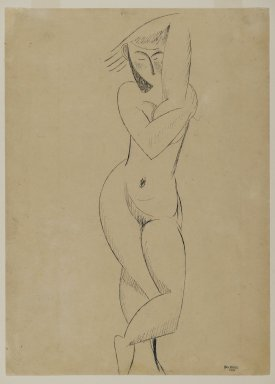 Max Weber (American, born Russia, 1881-1961). <em>Standing Figure</em>, 1911. Blue-gray ink on tan, moderately thick, smooth wove paper, Sheet: 14 1/2 x 10 1/2 in. (36.8 x 26.7 cm). Brooklyn Museum, Gift of the artist, 57.28 (Photo: Brooklyn Museum, 57.28_PS2.jpg)