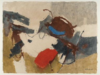 Afro Basaldella (Italian, 1912-1976). <em>Tellaro Landscape</em>, 1956. Watercolor, Sheet: 20 1/8 x 26 in. (51.1 x 66 cm). Brooklyn Museum, Museum Collection Fund, 57.67. © artist or artist's estate (Photo: Brooklyn Museum, 57.67_PS6.jpg)