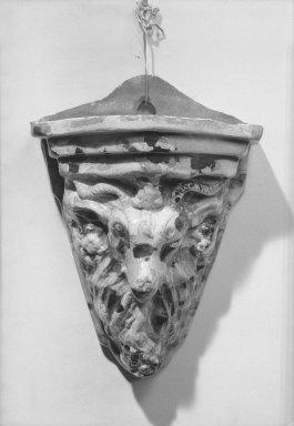 D. P. Shenfelder. <em>Wall Flower Holder</em>, 1869-1900., 12 x 8 3/4 in. (30.5 x 22.2 cm). Brooklyn Museum, Gift of Huldah Cail Lorimer in memory of George Burford Lorimer, 57.75.12. Creative Commons-BY (Photo: Brooklyn Museum, 57.75.12_acetate_bw.jpg)