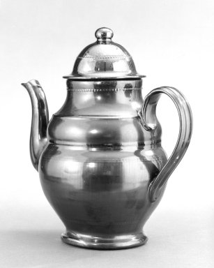 Thomas Haig. <em>Teapot</em>, ca. 1830. Glazed earthenware, 10 1/4 x 4 1/4 in. (26 x 10.8 cm). Brooklyn Museum, Gift of Huldah Cail Lorimer in memory of George Burford Lorimer, 57.75.35. Creative Commons-BY (Photo: Brooklyn Museum, 57.75.35_bw.jpg)