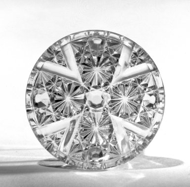 <em>Cup Plate</em>, ca. 1880. Pressed glass, 2 7/8 in. (7.3 cm). Brooklyn Museum, Gift of Mrs. Cheever Porter, 57.90.16. Creative Commons-BY (Photo: Brooklyn Museum, 57.90.16_view1_bw.jpg)