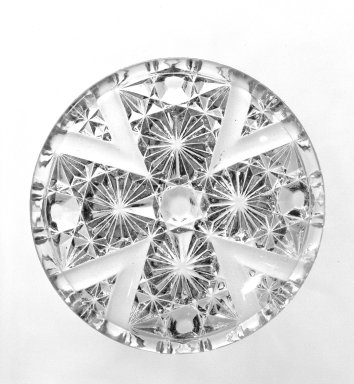 <em>Cup Plate</em>, ca. 1880. Pressed glass, 2 7/8 in. (7.3 cm). Brooklyn Museum, Gift of Mrs. Cheever Porter, 57.90.17. Creative Commons-BY (Photo: Brooklyn Museum, 57.90.17_bw.jpg)