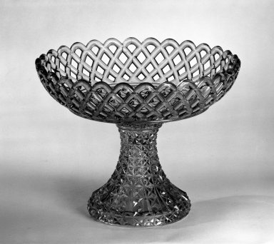<em>Compote</em>, after 1850. Pressed glass, 7 3/8 x 9 1/4 in. (18.7 x 23.5 cm). Brooklyn Museum, Gift of Mrs. Cheever Porter, 57.90.1. Creative Commons-BY (Photo: Brooklyn Museum, 57.90.1_bw.jpg)