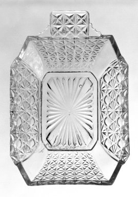 <em>Sauce Boat</em>, ca. 1880. Pressed glass, 1 1/4 x 3 3/8 x 5 in. (3.2 x 8.6 x 12.7 cm). Brooklyn Museum, Gift of Mrs. Cheever Porter, 57.90.27. Creative Commons-BY (Photo: Brooklyn Museum, 57.90.27_bw.jpg)