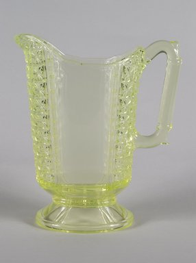 <em>Pitcher</em>, ca. 1880. Pressed glass, 7 3/8 x 4 x 5 5/8 in. (18.7 x 10.2 x 14.3 cm). Brooklyn Museum, Gift of Mrs. Cheever Porter, 57.90.41. Creative Commons-BY (Photo: Brooklyn Museum, 57.90.41_PS5.jpg)