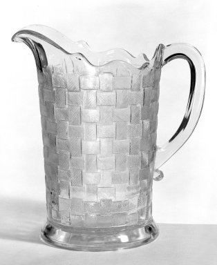 <em>Pitcher</em>, ca. 1880. Pressed glass, 8 1/4 x 5 x 6 1/8 in. (21 x 12.7 x 15.6 cm). Brooklyn Museum, Gift of Mrs. Cheever Porter, 57.90.43. Creative Commons-BY (Photo: Brooklyn Museum, 57.90.43_bw.jpg)