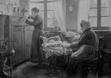 Charles Rousseau (Belgian, 1862-1916). <em>Last Hope (Dernier espoir)</em>, 1906. Oil on canvas, 36 1/2 x 51 in. (92.7 x 129.5 cm). Brooklyn Museum, Gift of Mr. and Mrs. Sidney W. Davidson, 57.94 (Photo: Brooklyn Museum, 57.94_bw.jpg)