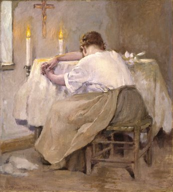Robert Reid (American, 1862-1929). <em>Her First Born</em>, 1888. Oil on canvas, 37 x 33 5/8 in. (94 x 85.4 cm). Brooklyn Museum, Gift of Mr. and Mrs. Sidney W. Davidson, 57.96 (Photo: Brooklyn Museum, 57.96_SL1.jpg)