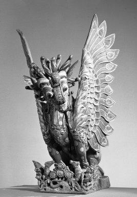 <em>Singh Figure</em>. Carved wood Brooklyn Museum, Henry L. Batterman Fund, 58.106. Creative Commons-BY (Photo: Brooklyn Museum, 58.106_threequarter_acetate_bw.jpg)