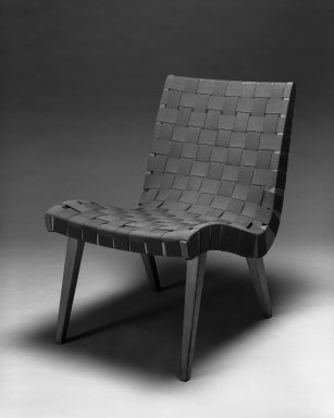 Jens Risom (American, born Denmark, 1916-2016). <em>Lounge Chair, Model 654W</em>, Designed 1941; Manufactured ca. 1946. Birch, cotton webbing, 29 3/4 x 19 7/8 x 28 in.  (75.6 x 50.5 x 71.1 cm). Brooklyn Museum, Gift of the artist, 58.121. Creative Commons-BY (Photo: Brooklyn Museum, 58.121_front_bw_IMLS.jpg)
