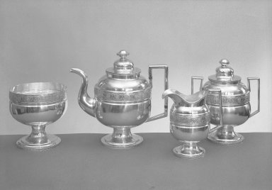 William Braisted Heyer (American, 1798-1828). <em>Tea Pot</em>, ca.1800. Silver Brooklyn Museum, Gift presented in memory of Augustus Graham, President of the Brooklyn Museum from 1840-1851, 58.131a. Creative Commons-BY (Photo: , 58.131a-e_acetate_bw.jpg)