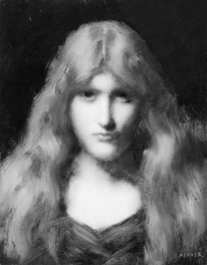 Jean Jacques Henner (French, 1829-1905). <em>Head of a Girl</em>, ca. 1903. Oil on board, 16 x 12 1/2 in. (40.6 x 31.8 cm). Brooklyn Museum, Gift of Major Benjamin H. Namm, 58.155 (Photo: Brooklyn Museum, 58.155_acetate_bw.jpg)