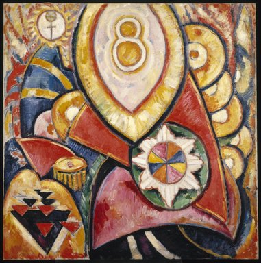 Marsden Hartley (American, 1877-1943). <em>Painting No. 48</em>, 1913. Oil on canvas, 47 3/16 x 47 3/16in. (119.9 x 119.9cm). Brooklyn Museum, Dick S. Ramsay Fund, 58.158 (Photo: Brooklyn Museum, 58.158_SL1.jpg)