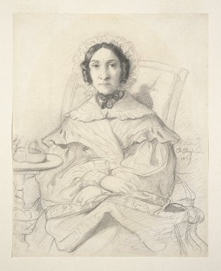 Théodore Chassériau (French, 1819-1856). <em>Portrait of Madame Monnerot</em>, 1839. Pencil on wove paper, 10 3/8 x 8 1/4 in. (26.4 x 21 cm). Brooklyn Museum, Gift of John S. Newberry Jr., 58.163 (Photo: Brooklyn Museum, 58.163_SL1.jpg)