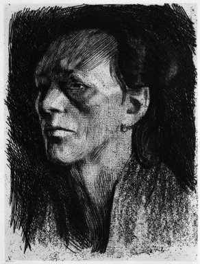 Käthe Kollwitz (German, 1867-1945). <em>Working Woman (with Earring) (Arbeiterfrau [mit dem Ohrring])</em>, 1910. Soft-ground etching on wove paper, Image (Plate): 12 3/8 x 9 5/16 in. (31.4 x 23.7 cm). Brooklyn Museum, Henry L. Batterman Fund, 58.166.1 (Photo: Brooklyn Museum, 58.166.1_bw_IMLS.jpg)