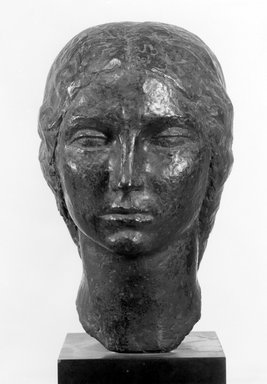 Oscar Miestchaninoff (American, born Russia, 1886-1956). <em>Head of a Young Bulgarian</em>, 1920. Bronze with stone base, 19 3/8 x 7 1/2 x 9 3/4 in. (49.2 x 19.1 x 24.8 cm). Brooklyn Museum, Gift of Mrs. Oscar Miestchaninoff, 58.183. Creative Commons-BY (Photo: Brooklyn Museum, 58.183_acetate_bw.jpg)