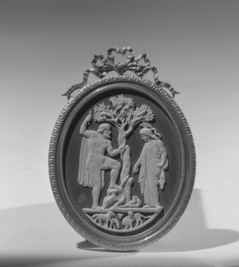 Wedgwood & Bentley (1768-1780). <em>Upright Oval Cameo</em>, ca. 1775. White relief on black wash, gilt frame, 2 5/8 x 2 1/4 in. (6.7 x 5.7 cm). Brooklyn Museum, Gift of Emily Winthrop Miles, 58.194.12. Creative Commons-BY (Photo: Brooklyn Museum, 58.194.12_view1_acetate_bw.jpg)