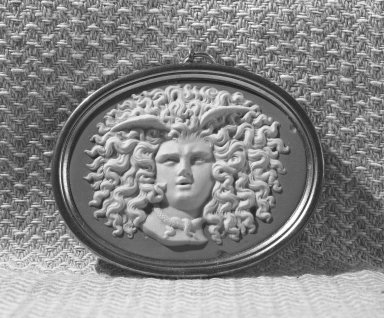 Attributed to Wedgwood and Company (1860-1965). <em>Cameo</em>. Jasperware Brooklyn Museum, Gift of Emily Winthrop Miles, 58.194.13. Creative Commons-BY (Photo: Brooklyn Museum, 58.194.13_acetate_bw.jpg)