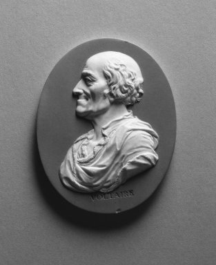 Wedgwood and Company (1860-1965). <em>Portrait Medallion</em>, ca. 1790. Jasperware, 3 x 2 1/2 in. (7.6 x 6.4 cm). Brooklyn Museum, Gift of Emily Winthrop Miles, 58.194.19. Creative Commons-BY (Photo: Brooklyn Museum, 58.194.19_acetate_bw.jpg)