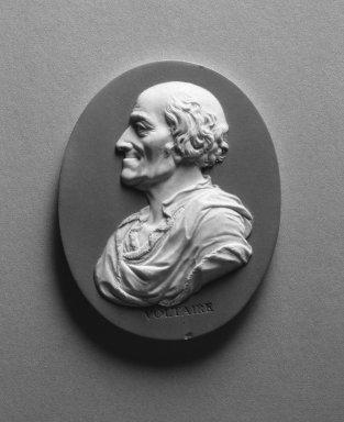 Wedgwood and Company (1860-1965). <em>Portrait Medallion</em>, ca. 1790. Jasperware, 3 x 2 1/2 in. (7.6 x 6.4 cm). Brooklyn Museum, Gift of Emily Winthrop Miles, 58.194.19. Creative Commons-BY (Photo: Brooklyn Museum, 58.194.19_acetate_bw.jpg)