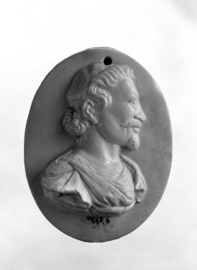 Wedgwood and Company (1860-1965). <em>Portrait Medallion</em>, ca. 1790. Bisque, 3 3/4 x 2 3/4 in. (9.5 x 7 cm). Brooklyn Museum, Gift of Emily Winthrop Miles, 58.194.22. Creative Commons-BY (Photo: Brooklyn Museum, 58.194.22_bw.jpg)