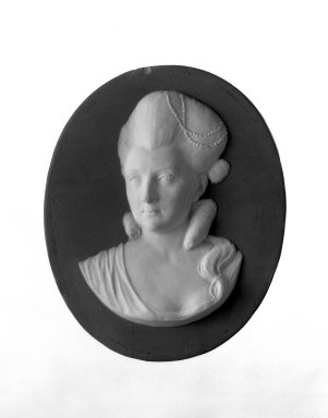 Wedgwood & Bentley (1768-1780). <em>Portrait Medallion</em>, 1775-1780. Jasperware, 4 1/2 x 3 7/8 in. (11.4 x 9.8 cm). Brooklyn Museum, Gift of Emily Winthrop Miles, 58.194.25. Creative Commons-BY (Photo: Brooklyn Museum, 58.194.25_bw.jpg)