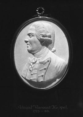 Wedgwood & Bentley (1768-1780). <em>Portrait Medallion</em>, ca. 1780. Jasperware, wood, 10 x 8 3/4 in. (25.4 x 22.2 cm) Overall. Brooklyn Museum, Gift of Emily Winthrop Miles, 58.194.30. Creative Commons-BY (Photo: Brooklyn Museum, 58.194.30_bw.jpg)