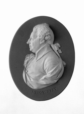 Josiah Wedgwood & Sons Ltd. (founded 1759). <em>Portrait Medallion</em>, ca. 1785. Jasperware, 5 x 4 3/4 in. (12.7 x 12.1 cm) Frame. Brooklyn Museum, Gift of Emily Winthrop Miles, 58.194.34. Creative Commons-BY (Photo: Brooklyn Museum, 58.194.34_bw.jpg)
