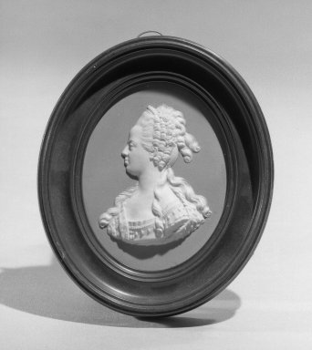 Wedgwood & Bentley (1768-1780). <em>Portrait Medallion</em>, ca. 1775. Jasperware Brooklyn Museum, Gift of Emily Winthrop Miles, 58.194.35. Creative Commons-BY (Photo: Brooklyn Museum, 58.194.35_acetate_bw.jpg)