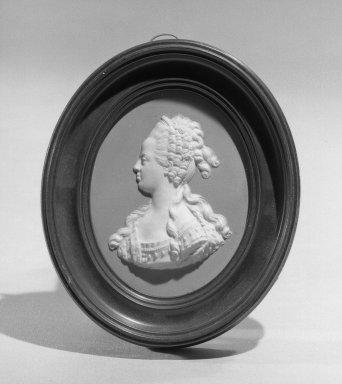 Wedgwood & Bentley (1768-1780). <em>Portrait Medallion</em>, ca. 1775. Jasperware Brooklyn Museum, Gift of Emily Winthrop Miles, 58.194.35. Creative Commons-BY (Photo: Brooklyn Museum, 58.194.35_acetate_bw.jpg)