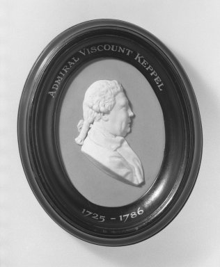 Josiah Wedgwood & Sons Ltd. (founded 1759). <em>Portrait Medallion</em>, ca. 1780. Jasperware, hardwood Brooklyn Museum, Gift of Emily Winthrop Miles, 58.194.36. Creative Commons-BY (Photo: Brooklyn Museum, 58.194.36_acetate_bw.jpg)