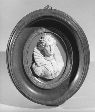 Wedgwood & Bentley (1768-1780). <em>Portrait Medallion</em>, ca. 1775. Jasperware, walnut, bronze Brooklyn Museum, Gift of Emily Winthrop Miles, 58.194.37. Creative Commons-BY (Photo: Brooklyn Museum, 58.194.37_acetate_bw.jpg)