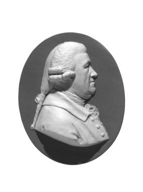Wedgwood and Company (1860-1965). <em>Portrait Medallion</em>, ca. 1780. Jasperware, 3 3/8 x 2 3/4 in. (8.6 x 7 cm). Brooklyn Museum, Gift of Emily Winthrop Miles, 58.194.3. Creative Commons-BY (Photo: Brooklyn Museum, 58.194.3_bw.jpg)