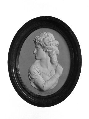 Josiah Wedgwood & Sons Ltd. (founded 1759). <em>Portrait Medallion</em>, ca. 1785. Jasperware Brooklyn Museum, Gift of Emily Winthrop Miles, 58.194.50. Creative Commons-BY (Photo: Brooklyn Museum, 58.194.50_view1_bw.jpg)
