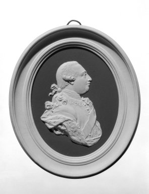 Josiah Wedgwood & Sons Ltd. (founded 1759). <em>Portrait Medallion</em>, ca. 1790. Jasperware (stoneware), 4 1/4 in. x 3 1/2 in. Brooklyn Museum, Gift of Emily Winthrop Miles, 58.194.51. Creative Commons-BY (Photo: Brooklyn Museum, 58.194.51_bw.jpg)