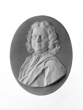Josiah Wedgwood & Sons Ltd. (founded 1759). <em>Portrait Medallion</em>, ca. 1785. Jasperware (stoneware), brass Brooklyn Museum, Gift of Emily Winthrop Miles, 58.194.54. Creative Commons-BY (Photo: Brooklyn Museum, 58.194.54_bw.jpg)