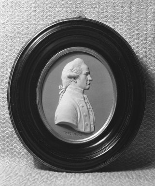Josiah Wedgwood & Sons Ltd. (founded 1759). <em>Portrait Medallion</em>, ca. 1790. Jasperware (stoneware), brass Brooklyn Museum, Gift of Emily Winthrop Miles, 58.194.55. Creative Commons-BY (Photo: Brooklyn Museum, 58.194.55_acetate_bw.jpg)