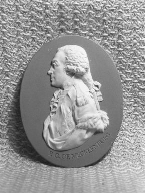Wedgwood and Company (1860-1965). <em>Portrait Medallion</em>, 1787-1790. Jasperware, 3 1/2 x 2 1/2 in. (8.9 x 6.4 cm). Brooklyn Museum, Gift of Emily Winthrop Miles, 58.194.5. Creative Commons-BY (Photo: Brooklyn Museum, 58.194.5_acetate_bw.jpg)