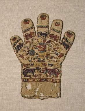 Wari. <em>Textile in the Form of a Glove</em>, 650-800 C.E. Cotton, camelid fiber, 11 1/4 x 8 11/16 in. (28.6 x 22.1 cm). Brooklyn Museum, Charles Stewart Smith Memorial Fund and Museum Collection Fund, 58.204. Creative Commons-BY (Photo: Brooklyn Museum, 58.204_SL1.jpg)