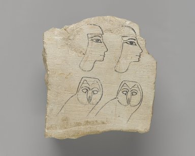 <em>Ostracon with Sketch</em>, ca. 1539-1292 B.C.E. Limestone, pigment, 5 5/8 x 5 1/4 x 1 3/4 in. (14.3 x 13.3 x 4.5 cm). Brooklyn Museum, Charles Edwin Wilbour Fund, 58.28.2. Creative Commons-BY (Photo: Brooklyn Museum, 58.28.2_PS4.jpg)