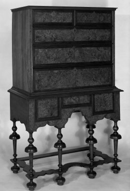 American. <em>High Chest in Two Parts</em>, 1715-1740. Walnut veneer Brooklyn Museum, Dick S. Ramsay Fund, 58.35. Creative Commons-BY (Photo: Brooklyn Museum, 58.35_bw.jpg)