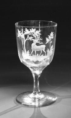 Brooklyn Flint Glass Company. <em>Water Goblet</em>, ca. 1860. Engraved glass, 6 x 3 1/4 in. (15.2 x 8.3 cm). Brooklyn Museum, Gift of Alexander L. Thompson, 58.36.10. Creative Commons-BY (Photo: Brooklyn Museum, 58.36.10_bw.jpg)